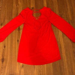 Express Tops - RED LACE BACK TOP